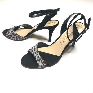 Sole Society Ankle Strap Leopard Heels